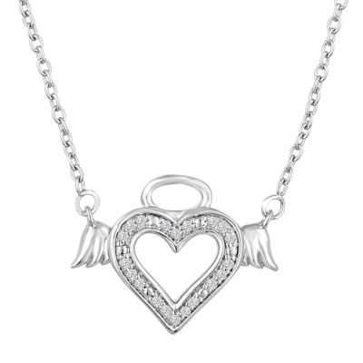 """Angel"" Womens Diamond Accent Genuine White Diamond Sterling Silver Heart Pendant Necklace"