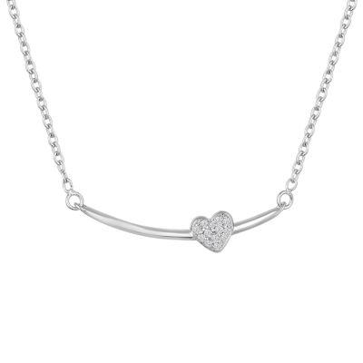 """Just Breathe"" Womens Diamond Accent Genuine White Diamond Sterling Silver Heart Pendant Necklace"