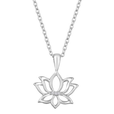"""Just Breathe"" Womens Diamond Accent Genuine White Diamond Sterling Silver Flower Pendant Necklace"