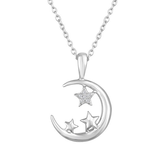 Womens Diamond Accent Genuine White Diamond Sterling Silver Star Pendant Necklace