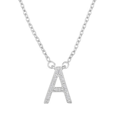 """""""One In A Million"""" Letter """"A"""" Womens Diamond Accent Genuine White Diamond Sterling Silver Pendant Necklace"""
