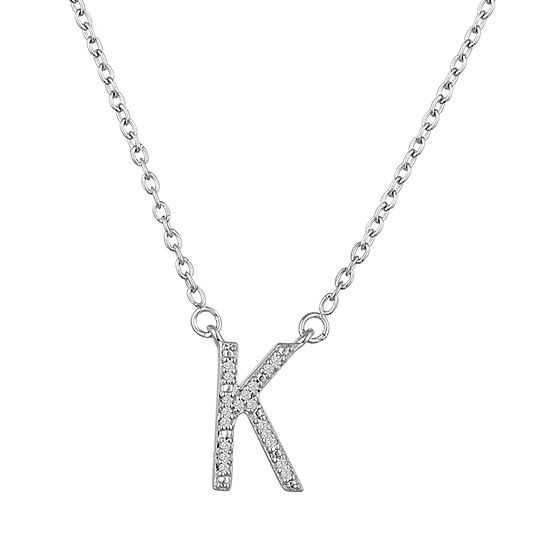 """""""One In A Million"""" Letter """"K"""" Womens Diamond Accent Genuine White Diamond Sterling Silver Pendant Necklace"""