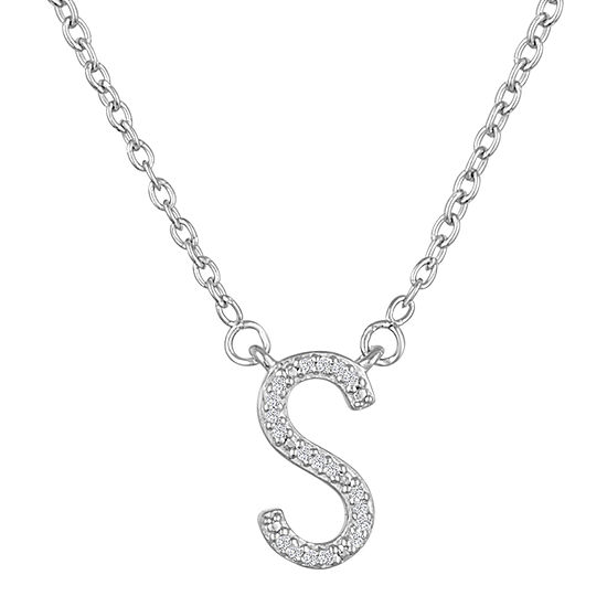 """""""One In A Million"""" Letter """"S"""" Womens Diamond Accent Genuine White Diamond Sterling Silver Pendant Necklace"""
