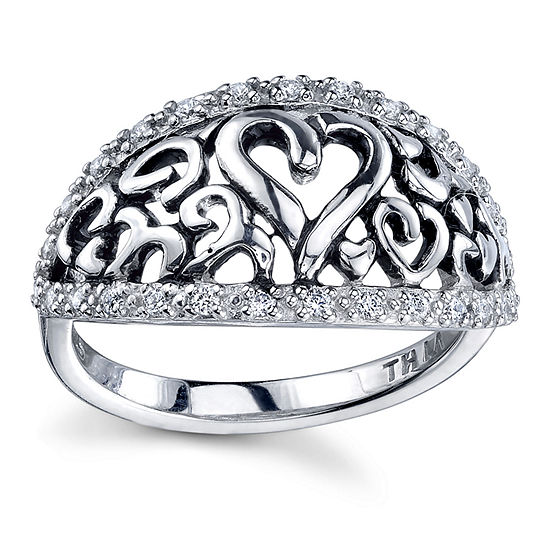 Inspired Moments Womens Lab Created White Cubic Zirconia Sterling Silver Heart Band