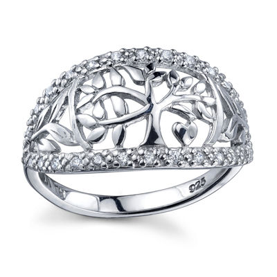 Inspired Moments Womens Lab Created White Cubic Zirconia Sterling Silver Band