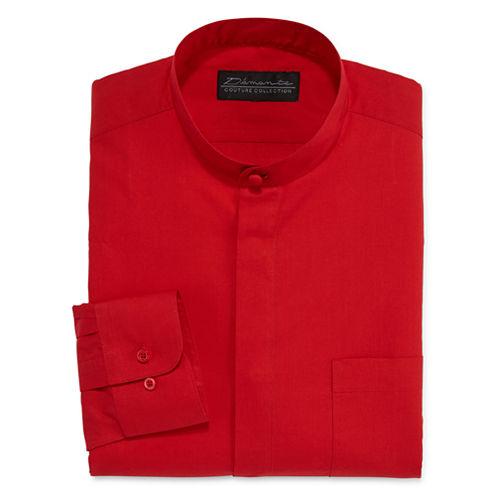 D'Amante Banded Collar Long Sleeve Dress Shirt