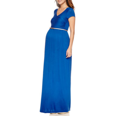 Planet Motherhood Short Sleeve Maxi Dress-Maternity