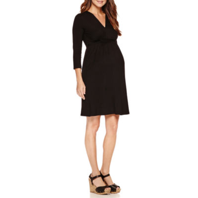 Planet Motherhood 3/4 Sleeve Empire Waist Dress-Maternity