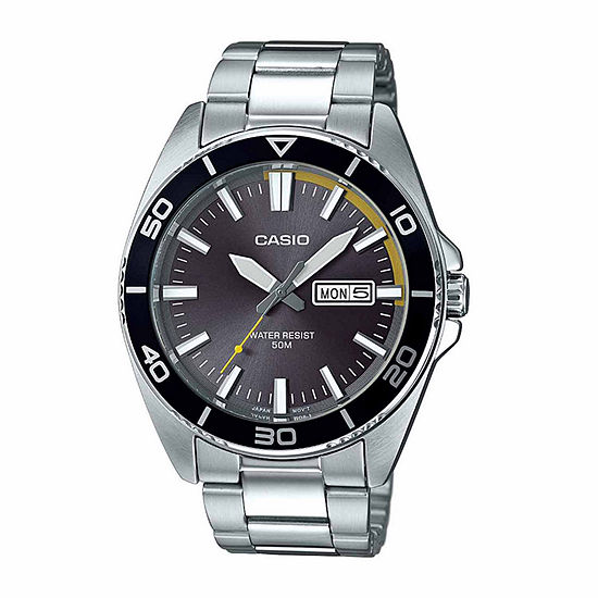 Casio Mens Silver Tone Stainless Steel Bracelet Watch-Mtd120d-8a