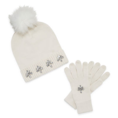 Mixit Jeweled Pom Beanie And Glove 2-pc. Cold Weather Set