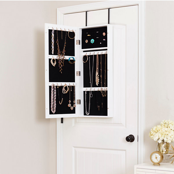 White Space Saver Mirrored Jewelry Armoire