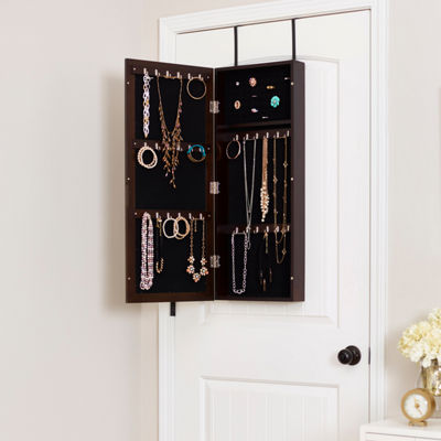 Espresso Space Saver Mirrored Jewelry Armoire