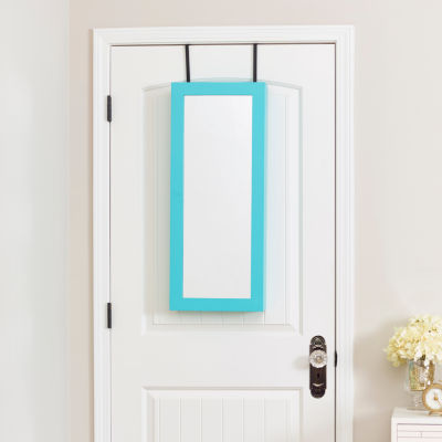 Turquoise Space Saver Mirrored Jewelry Armoire