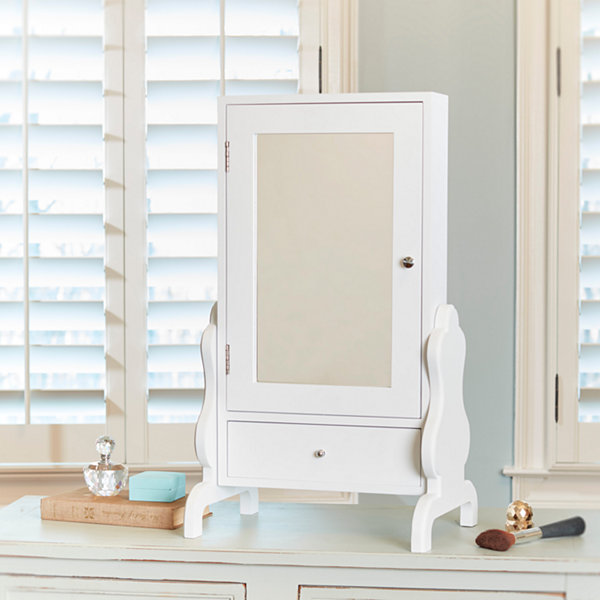 White Tabletop Jewelry Box with Mirror