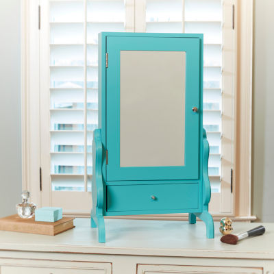 Turquoise Tabletop Jewelry Box with Mirror