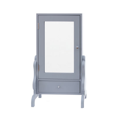 Gray Tabletop Jewelry Box with Mirror