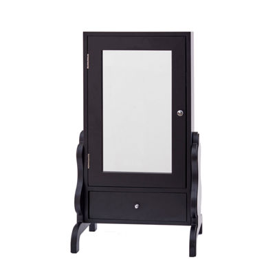 Black Tabletop Jewelry Box with Mirror