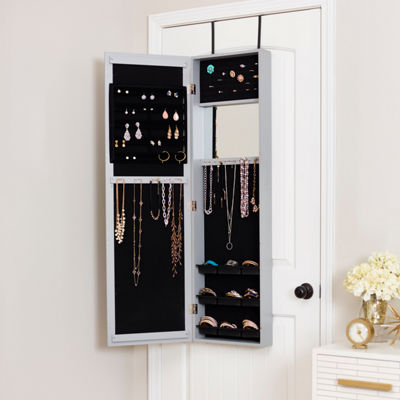 Grey Mirrored Jewelry Armoire