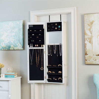 Weathered White Mirrored Jewelry Armoire with LED Lights