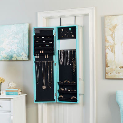 Weathered Turquoise Mirrored Jewelry Armoire with LED Lights