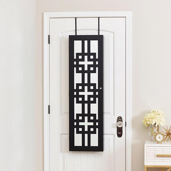Black Jewelry Armoire With Decorative Mirror