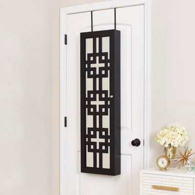 Black Jewelry Armoire with Decorative Mirror