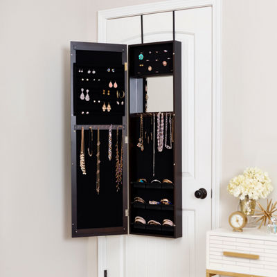 Espresso Jewelry Armoire with Decorative Mirror