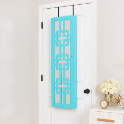 Turquoise Jewelry Armoire with Decorative Mirror