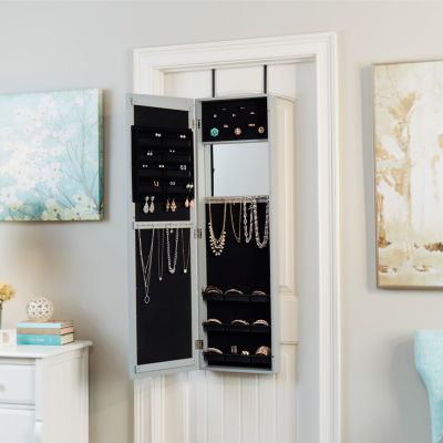 Grey Modern Jewelry Armoire with Decorative Mirror
