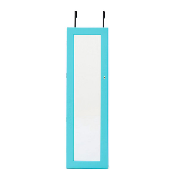 Turquoise Mirrored Jewelry Armoire