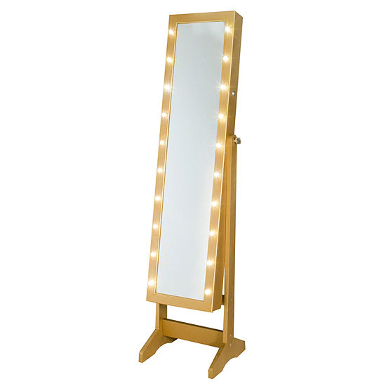 Gold Cheval Free Standing Jewelry Armoire With Led Lights