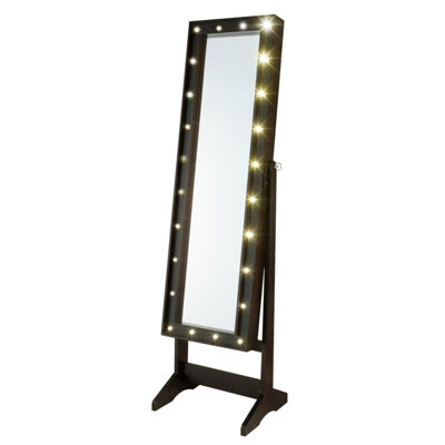 Espresso Cheval Free Standing Jewelry Armoire with LED Lights