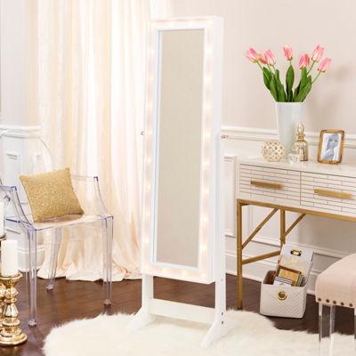 White Cheval Free Standing Jewelry Armoire with LED Lights