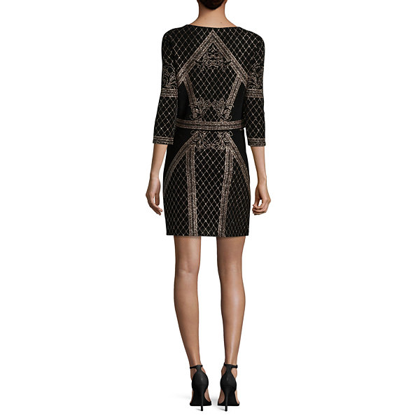 Jump Girl Long Sleeve Pattern Bodycon Dress-Juniors