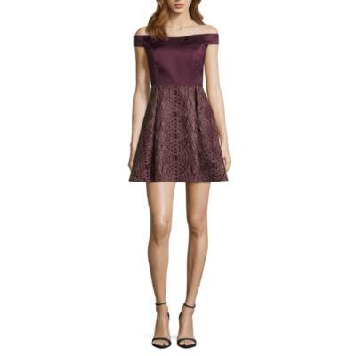 Jump Girl Short Sleeve Geometric Fit & Flare Dress-Juniors