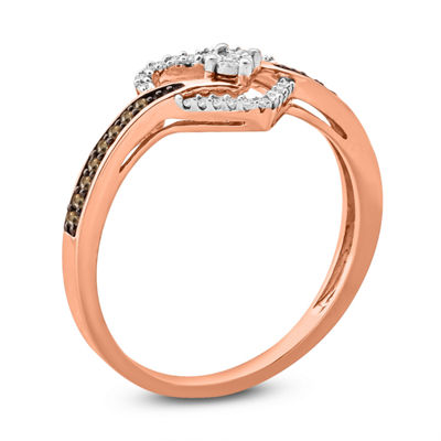Womens 1/6 CT. T.W. Champagne Diamond 10K Gold Engagement Ring