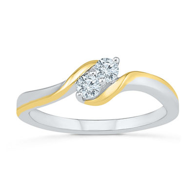 Womens 1/5 CT. T.W. White Diamond 10K Gold Cocktail Ring