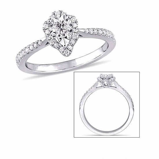Laura Ashley Womens 3/8 CT. T.W. Genuine White Diamond Sterling Silver Engagement Ring