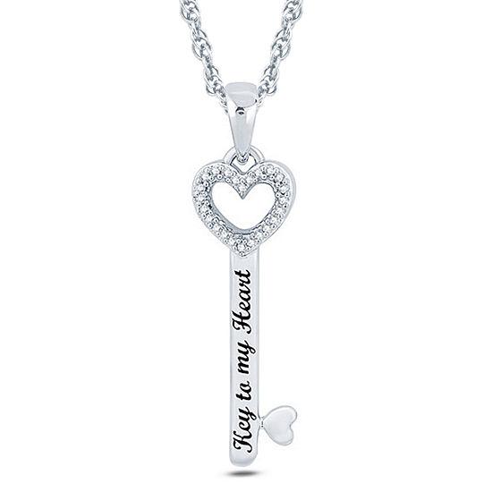 Womens Diamond Accent Genuine White Diamond Sterling Silver Round Pendant Necklace