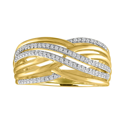 Womens 1/10 CT. T.W. Genuine White Diamond Gold Over Silver Cocktail Ring