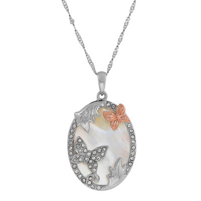 Womens Genuine White Mother Of Pearl Oval Pendant Necklace