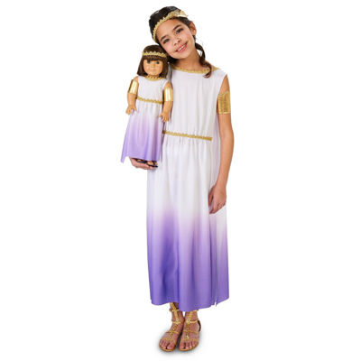 Purple Passion Greek Goddess Child Costume Size Medium with Matching 18-inch Doll Costume