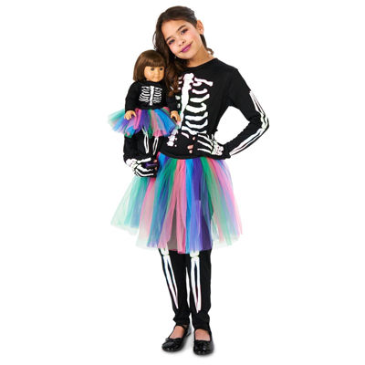 "Skeleton Tutu Child Costume with Matching 18"" DollCostume"""