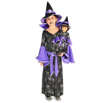 "Spider Web Silver Printed Witch Costume with Matching 18"" Doll Costume"""
