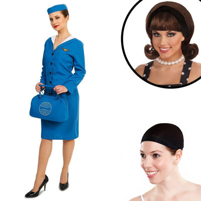 Retro Glam Airline Stewardess Adult Costume Kit