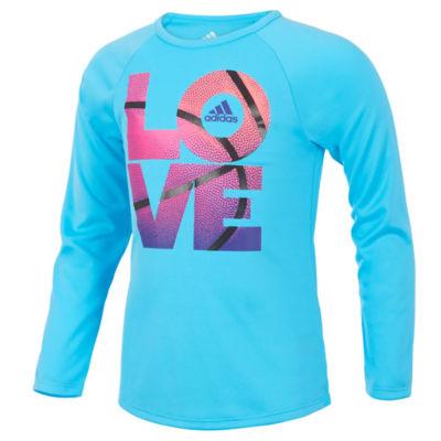 adidas Long Sleeve Crew Neck T-Shirt-Toddler Girls