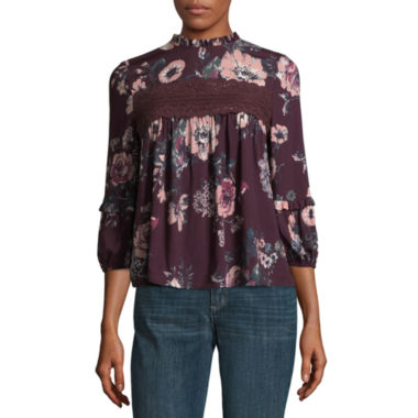 Eyeshadow 3/4 Sleeve Mock Neck Woven Blouse-Juniors