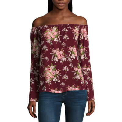 Miss Chievous Long Sleeve Straight Neck Woven Blouse-Juniors