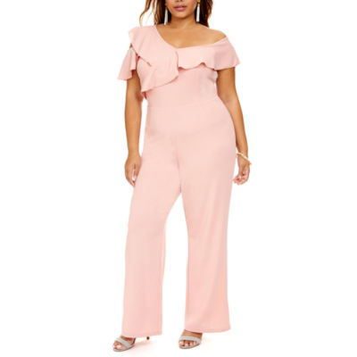 Fashion To Figure Veronica Off Shoulder Ruffle Jumpsuit - Plus