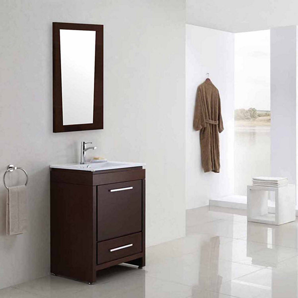 American Imaginations 21.5-in. W X 33.5-in. H Modern Plywood-Melamine Wood Mirror In Wenge